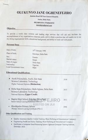 Office CV | Quality Control & Assurance CVs for sale in Delta State, Warri