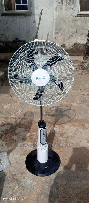 Boscon Ac/Dc Big Battery Rechargeable Fan+Remote +Solar Use | Home Appliances for sale in Lagos State, Ojo