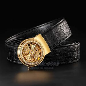 Men's Fashion Lucky Rotating Maple Crocodile Belt - Gold | Clothing Accessories for sale in Lagos State, Ikotun/Igando