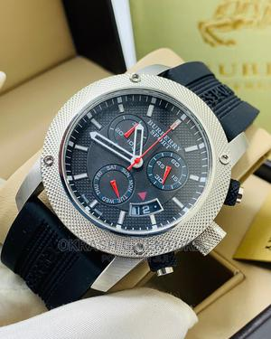 Burberry Chronograph Silver Black Rubber Strap Watch | Watches for sale in Lagos State, Lagos Island (Eko)