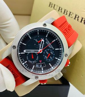 Burberry Chronograph Silver Red Rubber Strap Watch | Watches for sale in Lagos State, Lagos Island (Eko)