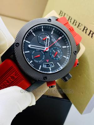 Burberry Chronograph Black Red Rubber Strap Watch | Watches for sale in Lagos State, Lagos Island (Eko)