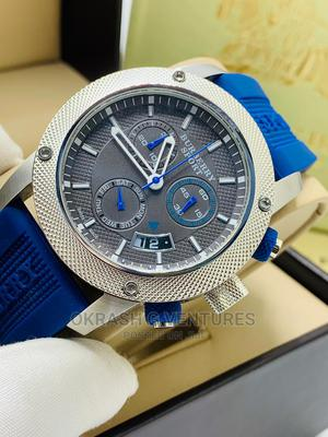 Burberry Chronograph Silver Blue Rubber Strap Watch | Watches for sale in Lagos State, Lagos Island (Eko)