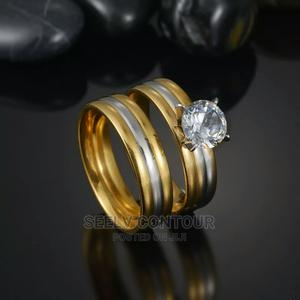 Romantic 2pcs Wedding Rhinestone Clear Crystal Rings Set | Wedding Wear & Accessories for sale in Rivers State, Port-Harcourt