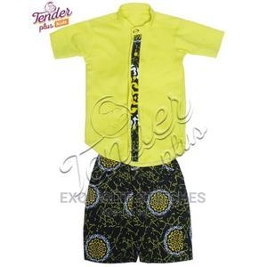 Boys Ankara Detailed Yellow Shirt With Ankara Shorts Set | Children's Clothing for sale in Lagos State, Ojodu