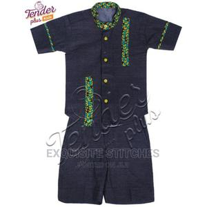 Boys Blue Denim Shirt and Shorts Set With Ankara Details | Children's Clothing for sale in Lagos State, Ojodu