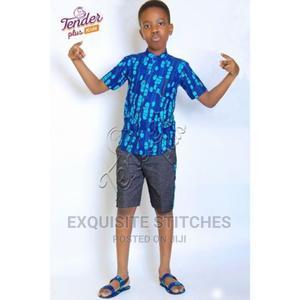 Boys Blue Ankara Shirt and Denim Shorts Set | Children's Clothing for sale in Lagos State, Ojodu