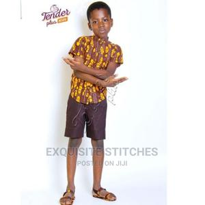 Boys Chocolate Brown Ankara Shirt and Chinos Shorts-Brown | Children's Clothing for sale in Lagos State, Ojodu