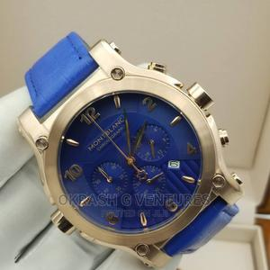 Montblanc Chronograph Rose Gold Blue Leather Strap Watch | Watches for sale in Lagos State, Lagos Island (Eko)