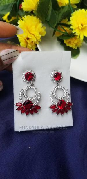 Silver Red Stoned Party Styled Earring | Jewelry for sale in Lagos State, Ajah