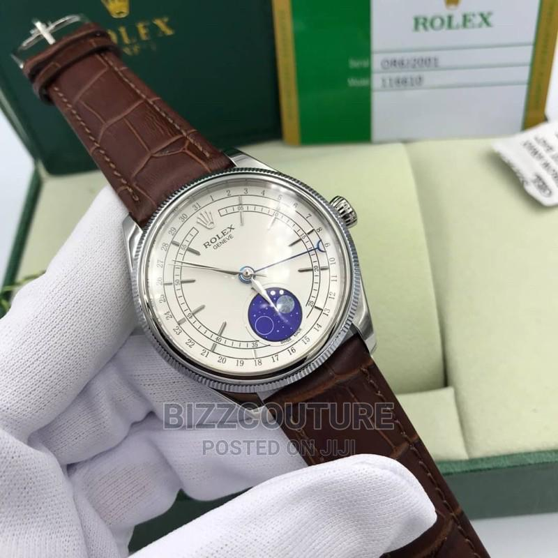 High Quality Rolex Cellini Moonphase Brown Leather Strap