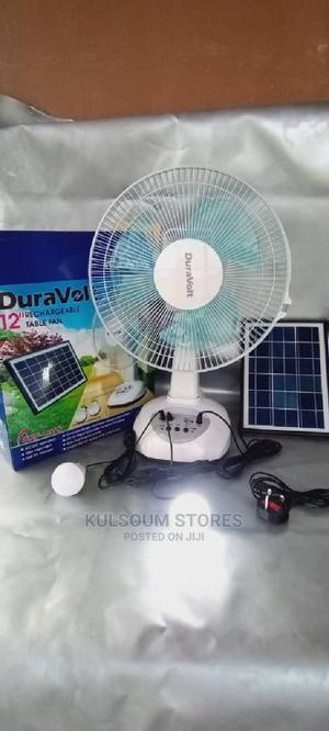 """Duravolt 12"""" Rechargeable Table Fan With Solar Panel Bulb 