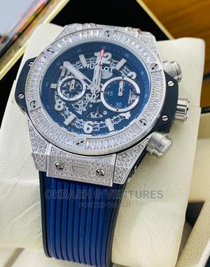 Hublot Full Ice Chronograph Silver Rubber Strap Watch | Watches for sale in Lagos State, Lagos Island (Eko)