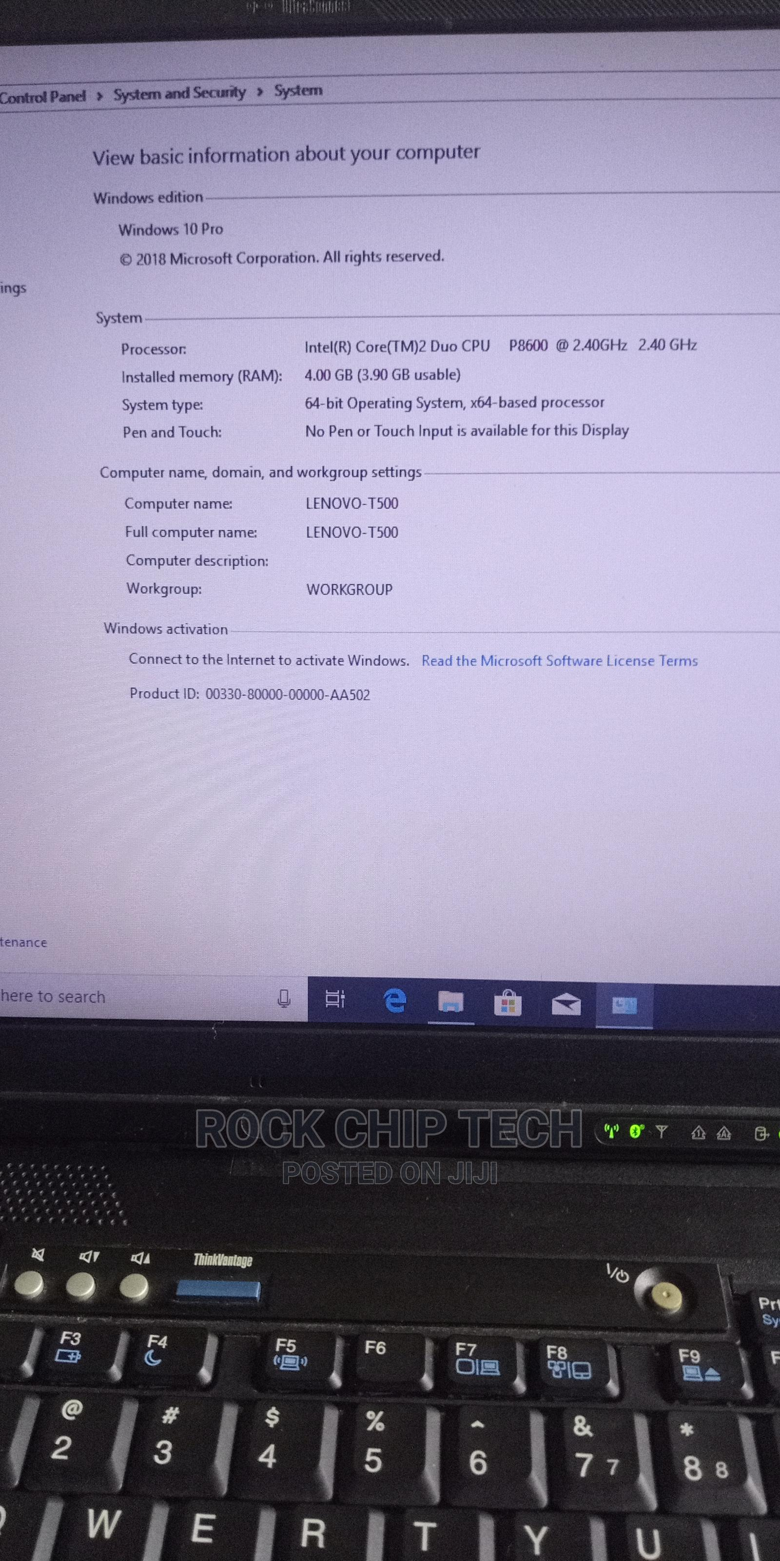 Laptop Lenovo ThinkPad T500 4GB Intel Core 2 Duo HDD 256GB | Laptops & Computers for sale in Aba North, Abia State, Nigeria