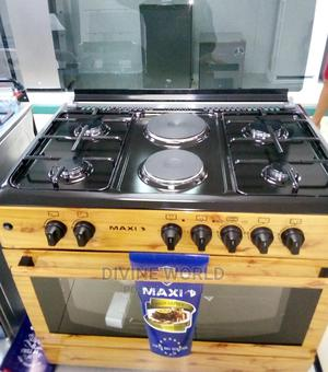 Maxi (Wood) 90cm Gas Electric (4+2) Auto Ignition Oven | Kitchen Appliances for sale in Lagos State, Ojo