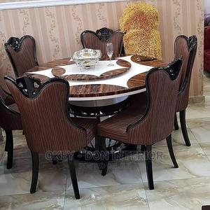 Quality Marble Round Dining Table With 6 Chairs | Furniture for sale in Abuja (FCT) State, Wuse
