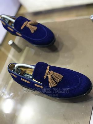 Blue Suede Loafers With Golden Brown Suede Tassel | Shoes for sale in Lagos State, Mushin