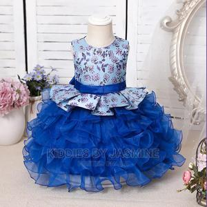 Baby Girl Flowery Satin Ruffles - Blue | Children's Clothing for sale in Lagos State, Alimosho