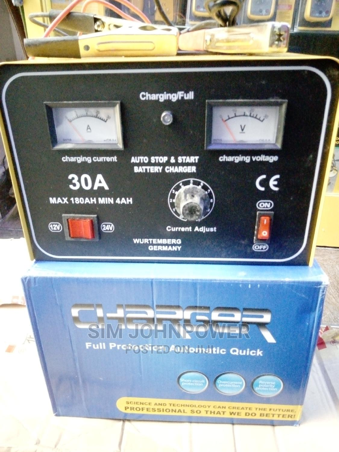 Full Automatic Battery Charger 30amps 12-24v