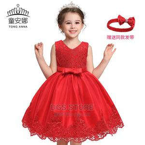 Children Girls Kids Party Princess Ball Gown Lace Dress-Red | Children's Clothing for sale in Lagos State, Ikeja