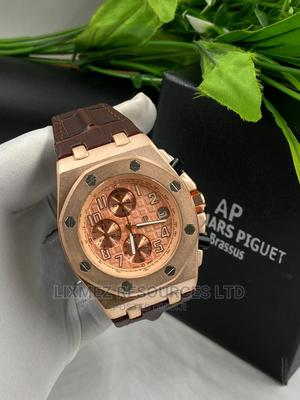 Ap Brown Leather With Rose Gold Face Wrist Watch | Watches for sale in Lagos State, Amuwo-Odofin