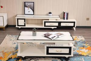 Quality Wooden With Glass Top Center Table and Tv Stand | Furniture for sale in Rivers State, Port-Harcourt