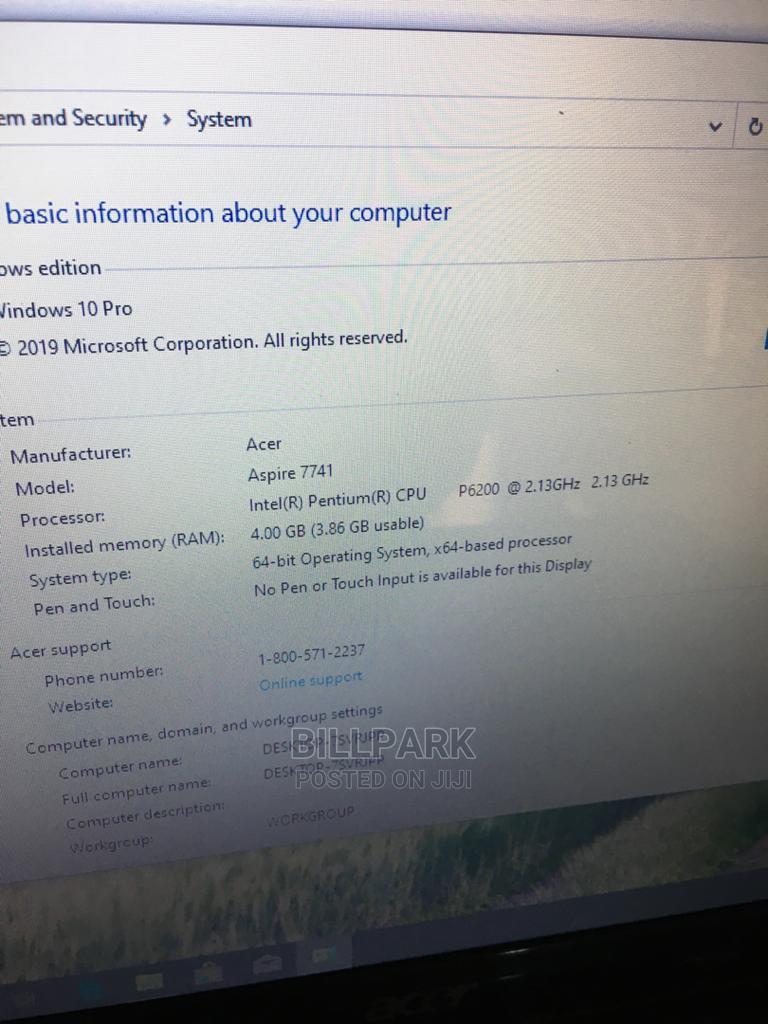 Archive: Laptop Acer Aspire 7741 4GB Intel Pentium HDD 320GB