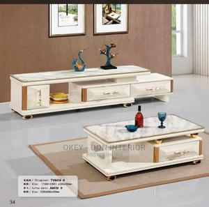Quality Wooden Glass Center Table and Adjustable Tv Stand | Furniture for sale in Lagos State, Lekki