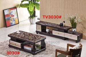 Quality Wooden Glass Center Table With Adjustable Tv Stand | Furniture for sale in Rivers State, Port-Harcourt