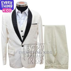 Boys 3 Pcs Cream Tuxedo Suit With White Shirt | Children's Clothing for sale in Lagos State, Ikeja