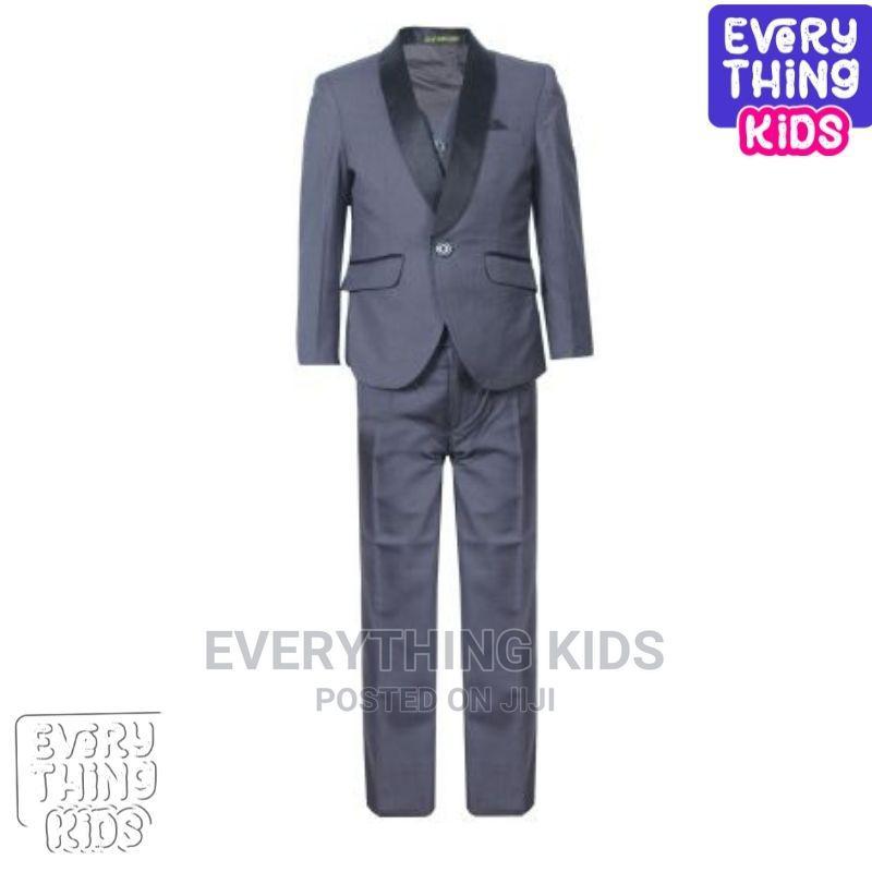 Boys 3pcs Suit-Grey With Black Lapel
