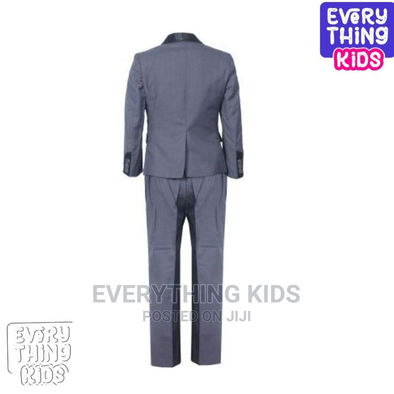 Boys 3pcs Suit-Grey With Black Lapel   Children's Clothing for sale in Ikeja, Lagos State, Nigeria