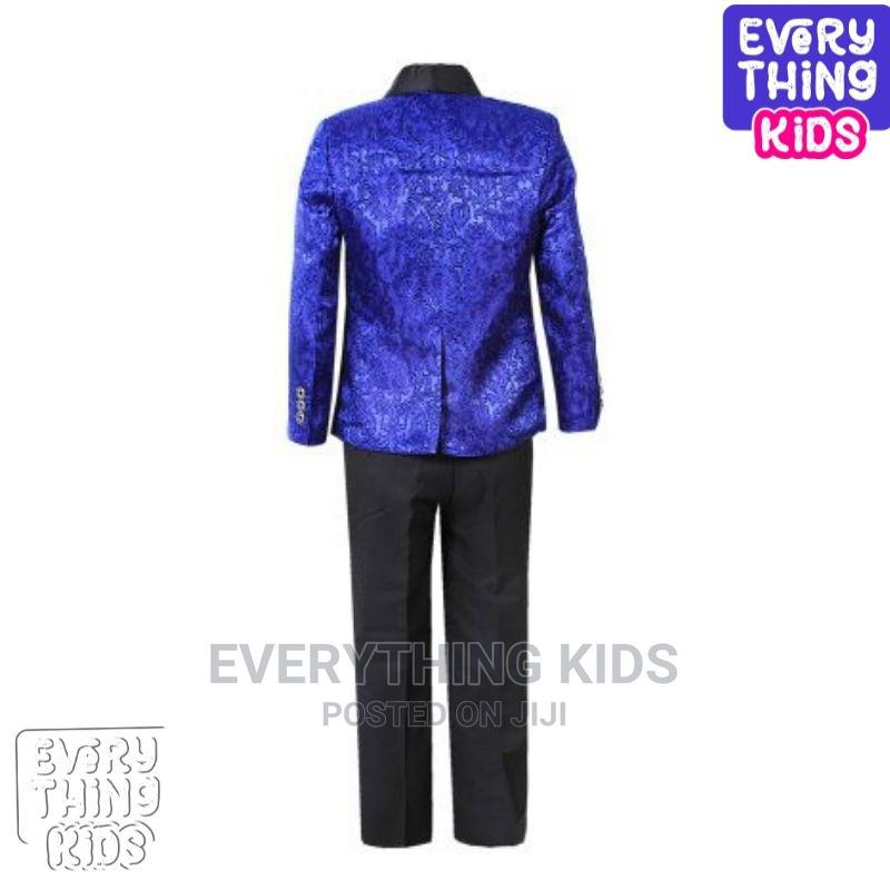 Boys 3pcs Tuxedo Suit- Royal Blue Paisley and Black | Children's Clothing for sale in Ikeja, Lagos State, Nigeria