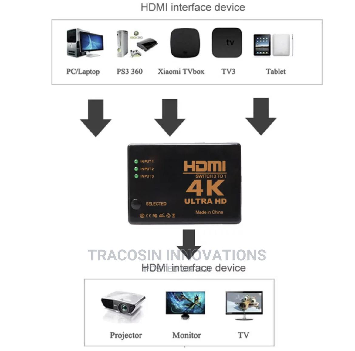 4K HDMI Switch 3 Way | Accessories & Supplies for Electronics for sale in Yaba, Lagos State, Nigeria