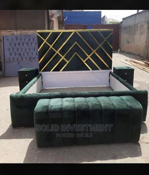 6/6 Padded Bed Frame With 2 Bed Side and Footrest | Furniture for sale in Lagos State, Lekki