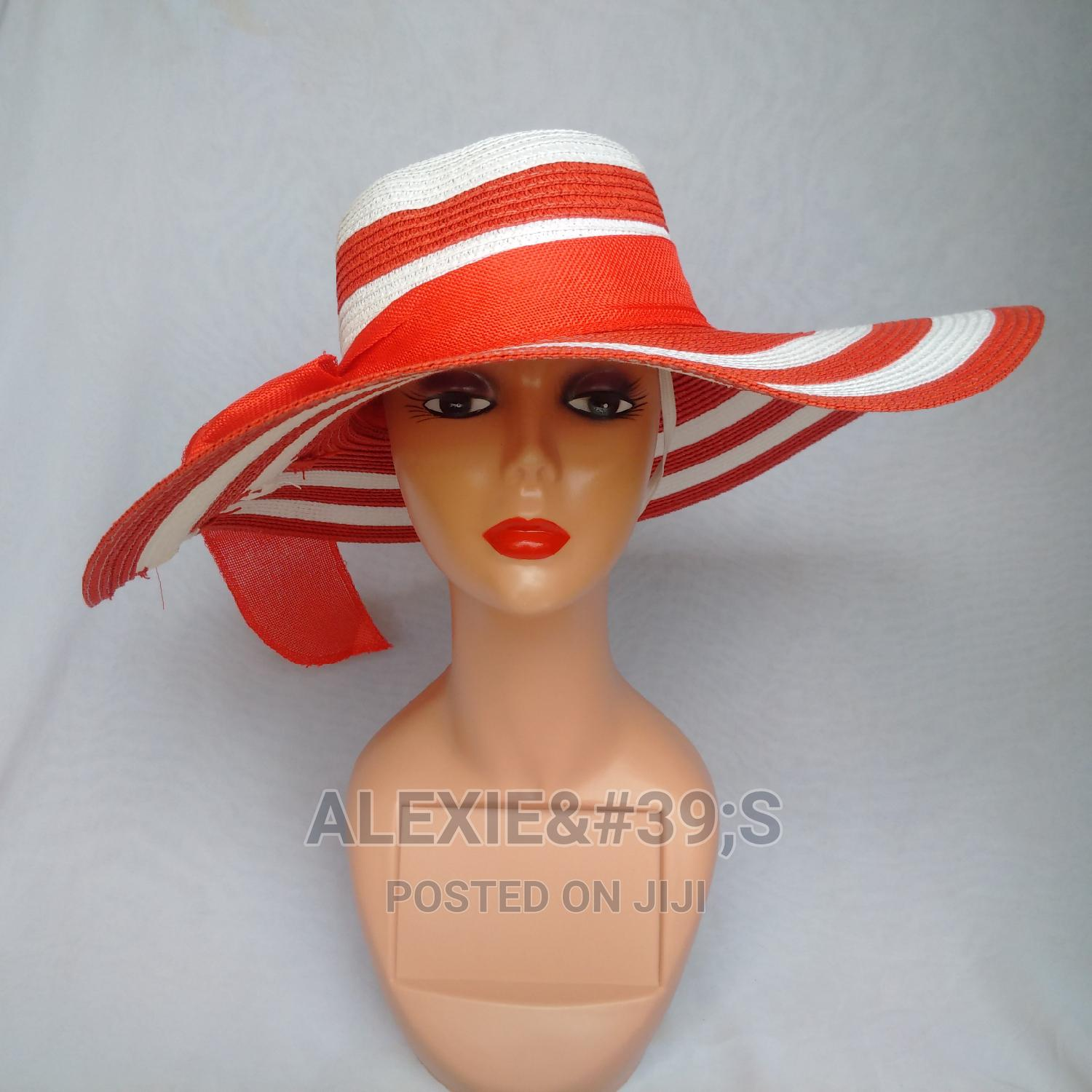 Rainbow Beach Hat for Women - White and Red