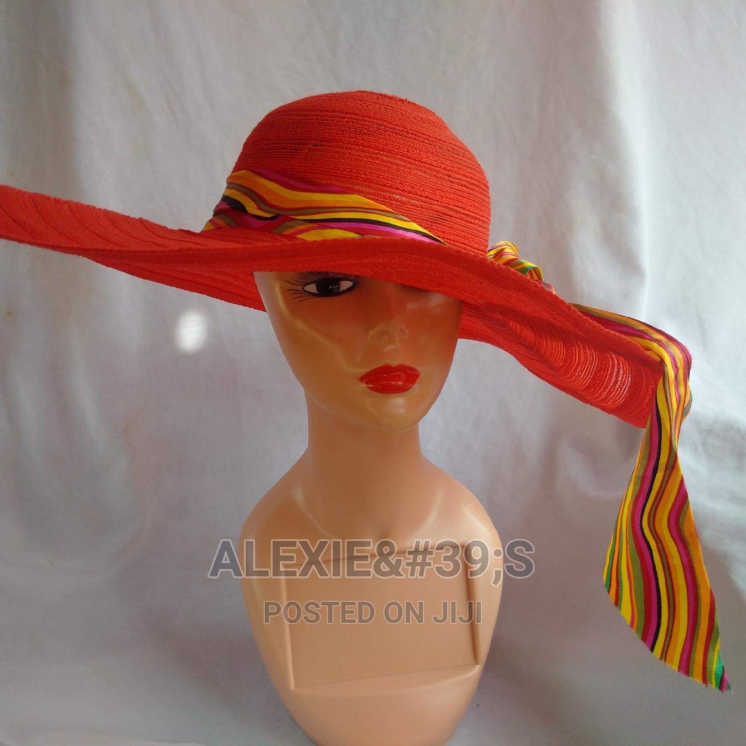 Women's Wide Brim Beach Hat - Red   Clothing Accessories for sale in Kubwa, Abuja (FCT) State, Nigeria
