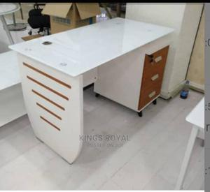 Executive Office Table With Top Glass and Inbuilt Drawer | Furniture for sale in Lagos State, Lekki