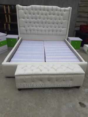 6by6 Royal Upholstery Bedframe With Footrest   Furniture for sale in Lagos State, Lekki