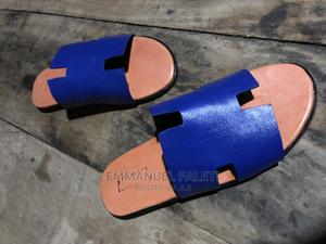 Blue and Brown Herms Pam Slippers | Shoes for sale in Lagos State, Mushin