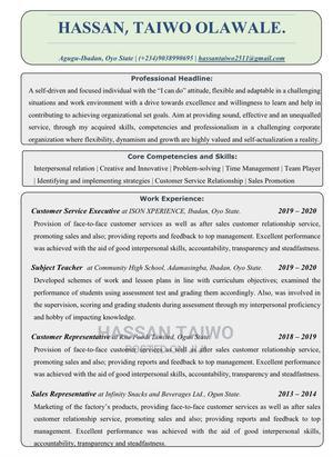 Customer Service Executive | Customer Service CVs for sale in Oyo State, Ibadan