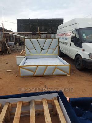 (6/6) Gold Designer Bedframe With Bedside Cabinets | Furniture for sale in Lagos State, Ojo