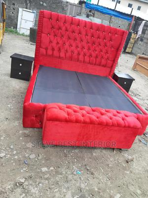 6by6 Upholstery Bed Frame With Box Automan | Furniture for sale in Lagos State, Ojo