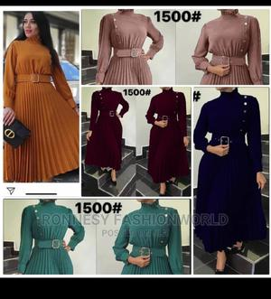Elegant Classic Female Quality High Neck Pleated Gown | Clothing for sale in Lagos State, Ikeja