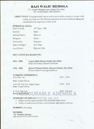 Truck Driver | Logistics & Transportation CVs for sale in Oyo State, Ibadan
