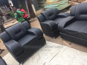 Complete 7 Seater Black Leather Sofa   Furniture for sale in Lagos State, Alimosho