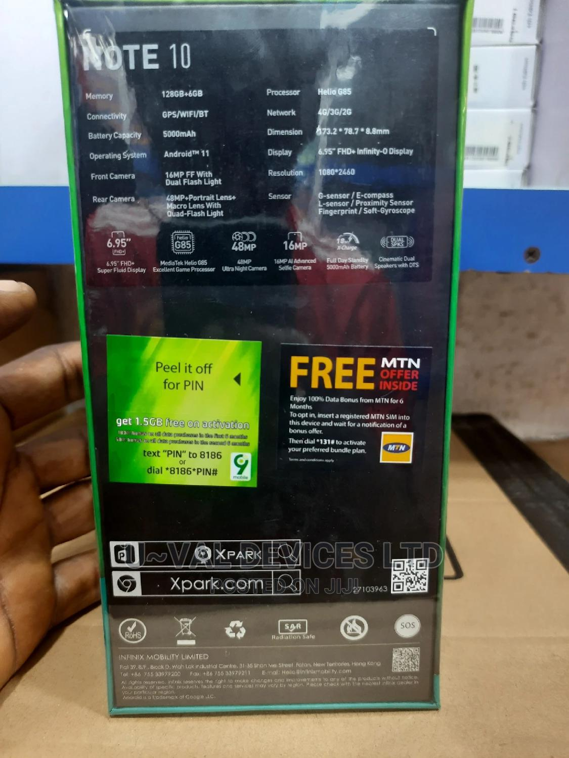 New Infinix Note 10 128 GB Green   Mobile Phones for sale in Ikeja, Lagos State, Nigeria