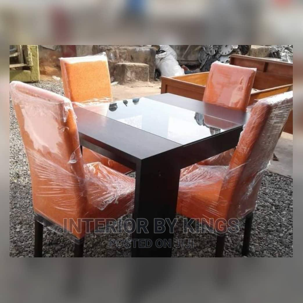 4seater Dining Set With Wooden Table Top Design With Glass