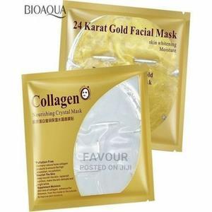 Gold Mask 24K 5pcs + Collagen Crystal Facial Mask 5pcs | Skin Care for sale in Lagos State, Surulere