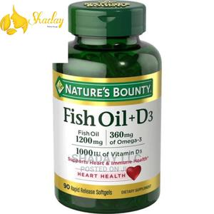 Nature's Bounty Fish Oil + Vitamin D Softgels 1200mg, 90 | Vitamins & Supplements for sale in Lagos State, Alimosho